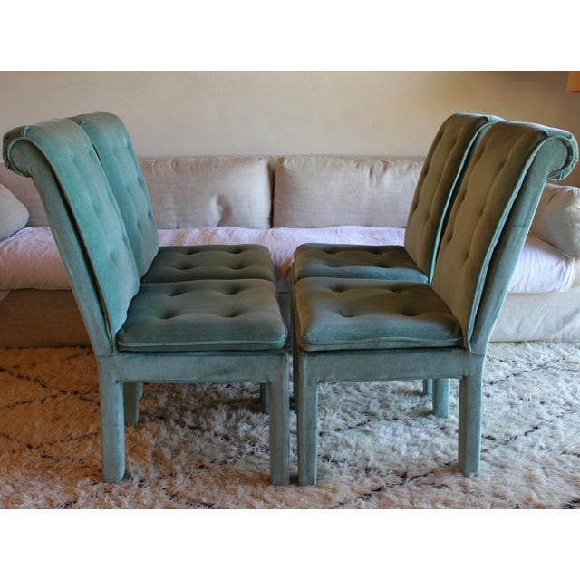 1970s Mid Century Modern Tufted Teal Green Velvet Parsons Dining Chairs Milo Baughman Style - Set of 4 For Sale - Image 10 of 13