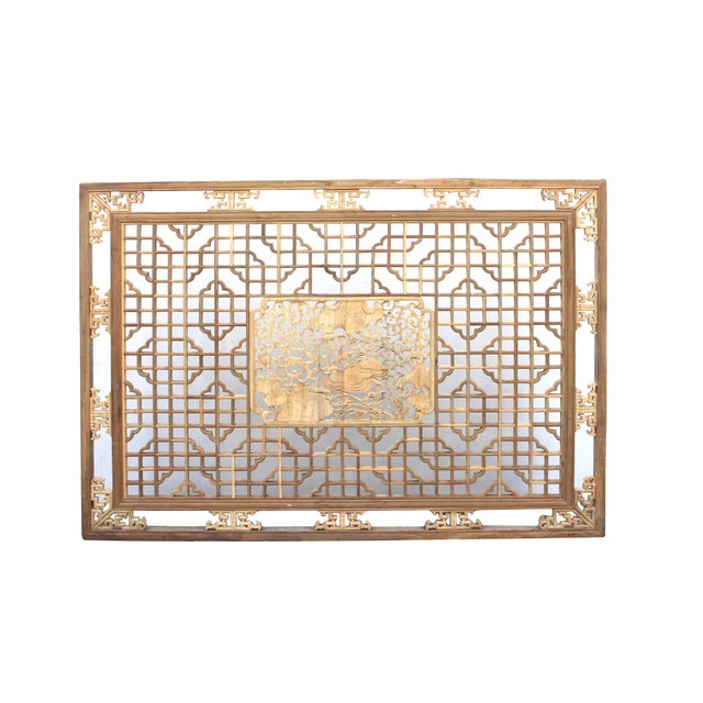 Chinese Rectangular Flower Birds Geometric Wood Wall Decor For Sale In San Francisco - Image 6 of 6