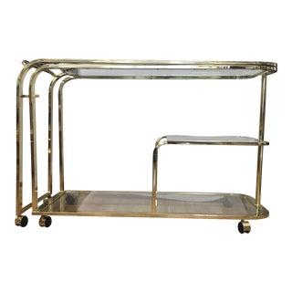 Milo Baughman for Dia Expanding Brass Bar Cart For Sale