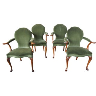 Early 20th Century Antique Walnut George II Style Dining Arm Chairs- Set of 4 For Sale
