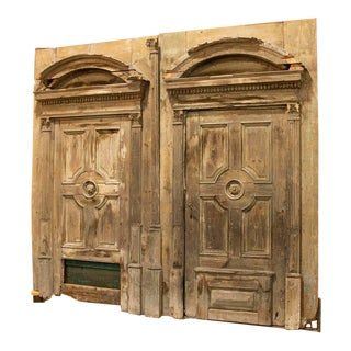 Pair of Massive Antique Salvaged Architectural Doors With Arches , Over 9' Wide and Tall For Sale