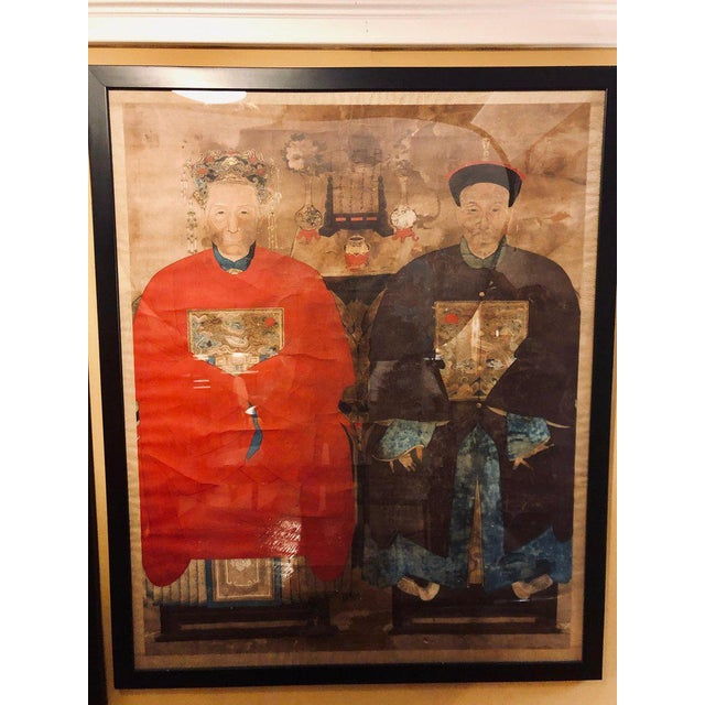 Monumental Ancient Ancestor Portraits / Chinese Paintings on Rice Paper - a Pair For Sale - Image 9 of 13