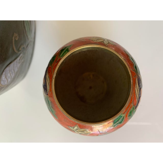 Vintage Enameled Brass Vase & Jar - Pair For Sale - Image 4 of 9