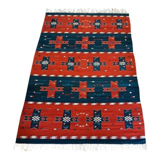 8 X 11 Vintage Zapotec Flat Weave Rug-Teotitlan Del Valle, Oaxaca For Sale