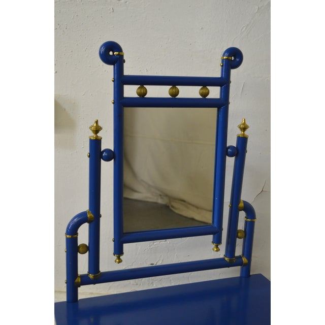 Art Nouveau Style Blue Salesman Sample Small Bent Wood Dresser w/ Mirror For Sale - Image 9 of 13