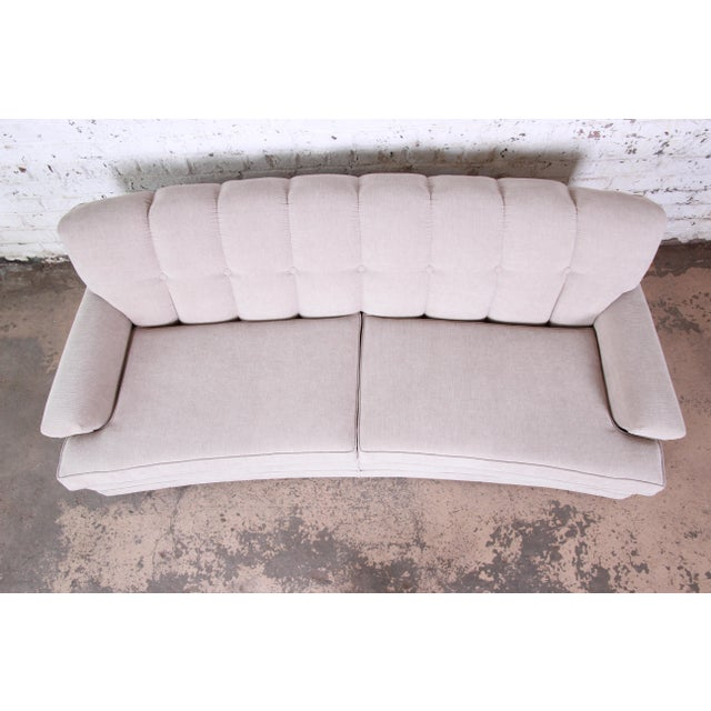 1950s Mid-Century Modern Curved Tufted Sofa, Newly Reupholstered For Sale - Image 5 of 12