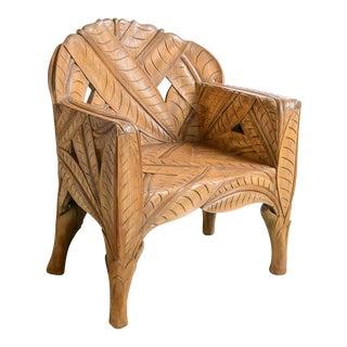 Vintage Sculptural Hand Carved Wood Leaf Chair, For Sale