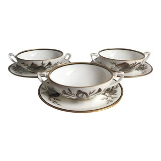 Tiffany & Co Private Stock Hand Painted Bouillon Soup Bowls & Saucers - Set of 6