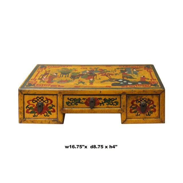 This is a handmade Chinese accent decorative display stand made of wood with small drawers. The surface is a colorful...