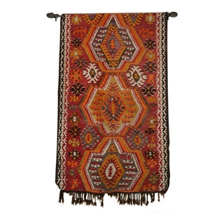 Large Hand-Woven Turkish Kilim Wall Hanging For Sale