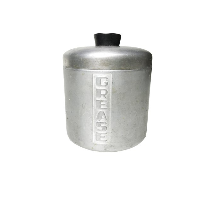 Vintage Mid-Century Aluminum Grease Canister For Sale