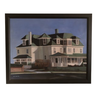 1982 Beach House Portrait Painting by Ross Jahnig, Framed For Sale