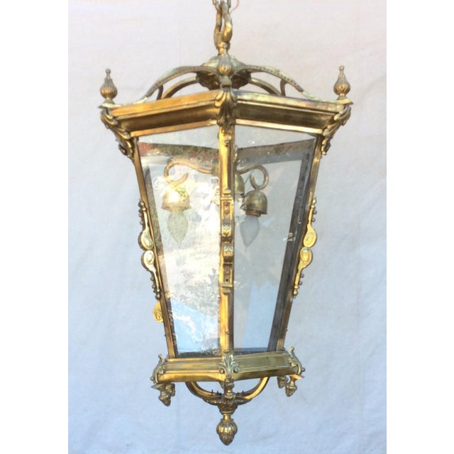 Antique Brass English Hall Lantern For Sale - Image 10 of 10