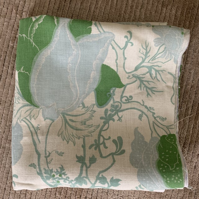 Designer Blue and Green Floral Linen Fabric For Sale In New York - Image 6 of 6