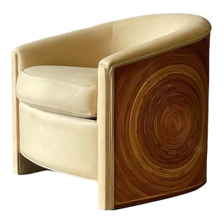 Pencil Reed Upholstered Split Bamboo Chair For Sale