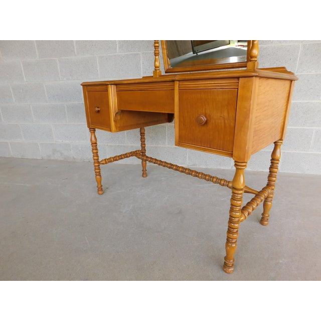 Mid 20th Century Vintage Tiger Maple Vanity & Mirror Set For Sale - Image 5 of 13