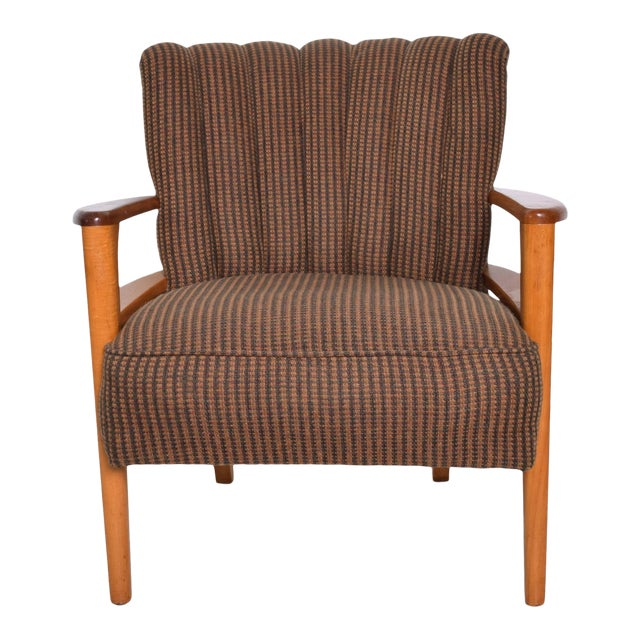 1950s Mid Century Modern Heywood Wakefield Maple Lounge Chair For Sale