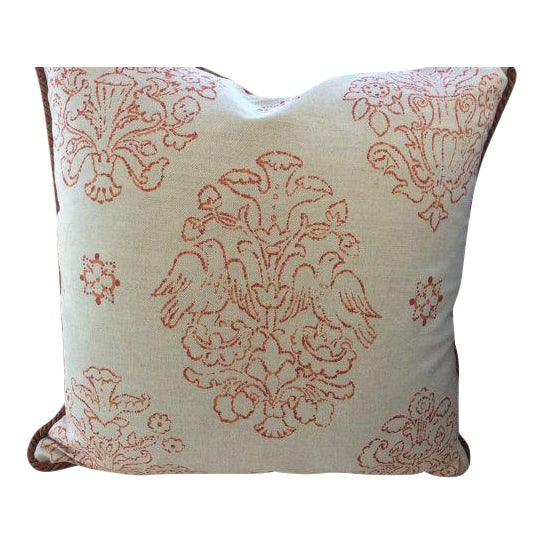 Victoria Hagan Pillows in Marianne Pumpkin Abstract Linen - a Pair - Image 1 of 4