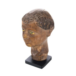 17th C. Spanish Colonial -Hand carved Wood Polichrome Miniature Bust