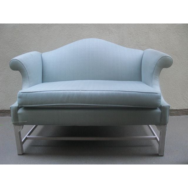 Vintage Gray Camelback Settee - Image 2 of 3