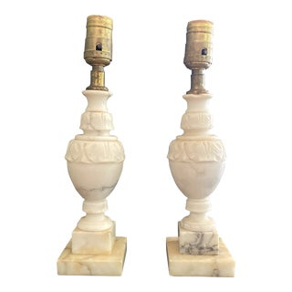 1970s Petite Marble Lamps - a Pair For Sale
