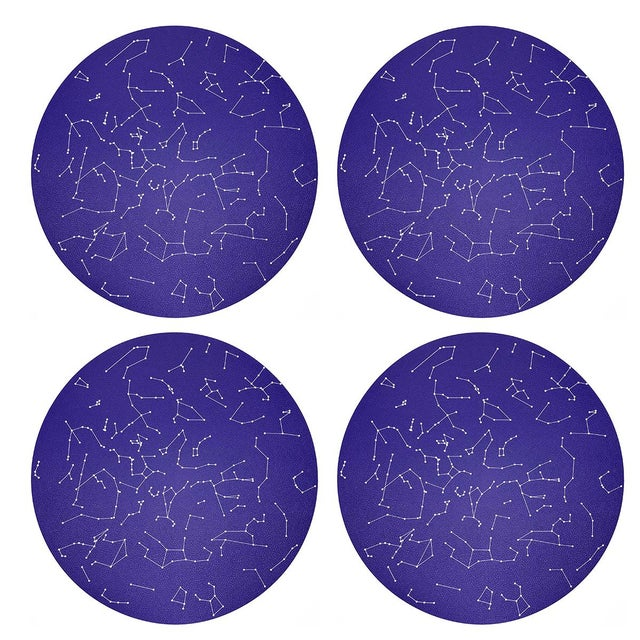 "Contemporary Constellations Stars, 16"" Round Pebble Placemats, Set of 4 For Sale - Image 3 of 3"