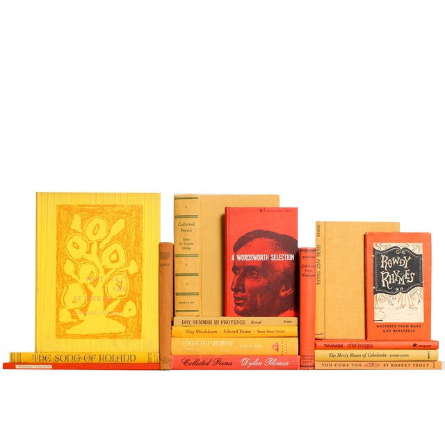 Yellow Cover Poetry Book : Yellow orange poetry books set of chairish