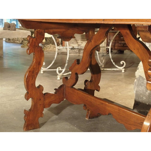 19th Century Tuscan Walnut Table With Shaped Wooden Stretchers For Sale - Image 10 of 13