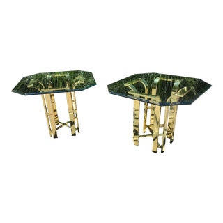 Milo Baughman Style Gold Metal & Glass Tulip Side Tables - a Pair For Sale