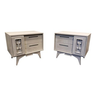 Mid Century Postmodern Faux Concrete Painted Nightstands For Sale