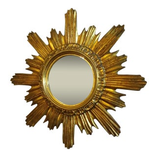 1950s Vintage Wooden Sunburst Mirror For Sale