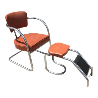 Vintage 1950s Shoe Department Chair and Footstool - a Pair For Sale