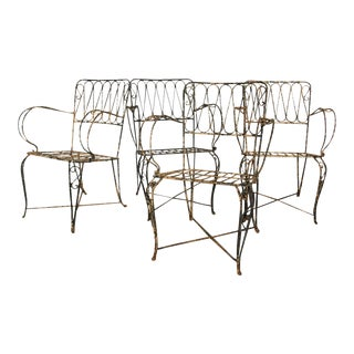 French Forged Armchairs Style of Raymond Subes, 1940 - Set of 4 For Sale