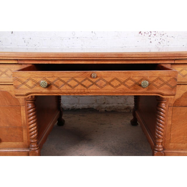 Antique Carved Burled Walnut Executive Lincoln Desk, Chicago, Circa 1930s For Sale In South Bend - Image 6 of 13