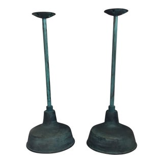 Barn Light Electric Company Green Copper Barn Light Pendants - a Pair For Sale