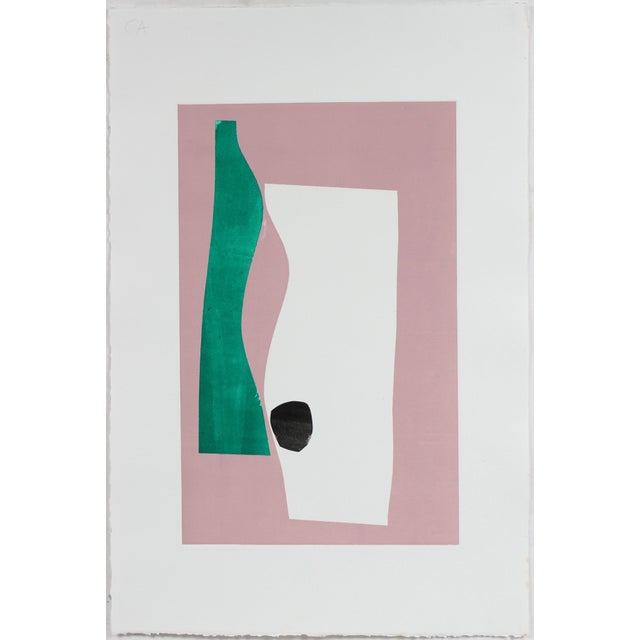 Abstract Minimal Abstract Monotype in Pink For Sale - Image 3 of 4