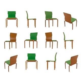 Thonet Style Mid-Century Modern Maple Bent Ply Green Wool Tweed Dining Chairs - Set of 12 For Sale
