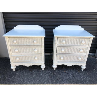 1980s Boho Chic Lexington Rattan and Wood Nightstands - a Pair Preview