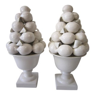 1970s Vintage Majolica Topiary-a Pair For Sale