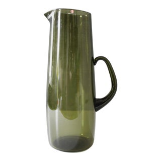 Iittala Finland Green Glass Serving Pitcher Timo Sarpaneva Mid Century