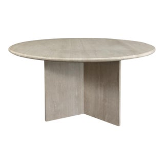 Mid-Century Round Travertine Dining Table