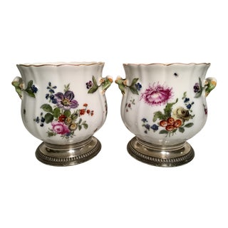 Austrian Hand Painted Floral Scene Cachepots With Sterling Bases - a Pair For Sale