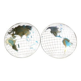 Curtis Jere Mid Century Metal World Map Sculptures - a Pair For Sale