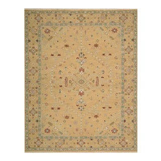 Gold and Green Soumak Wool Handkntoted Rug - 12′ × 15′