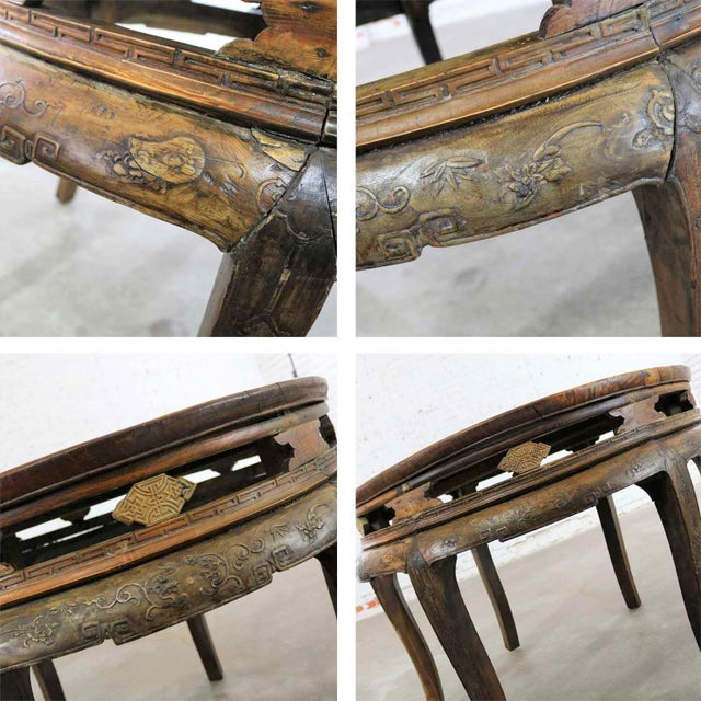 Antique Chinese Round Center Table Hand Carved Elm For Sale - Image 9 of 13