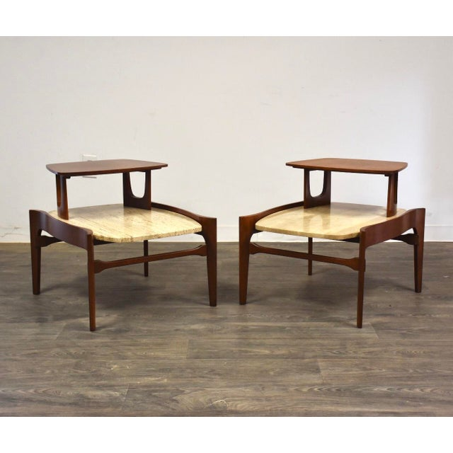 Bertha Schaefer Walnut and Travertine End Tables - a Pair For Sale - Image 11 of 11