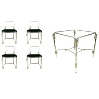 1940s Lucite Dining Table with Four Chairs by Grosfeld For Sale
