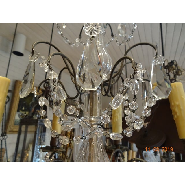Metal Small Vintage French Crystal Chandelier For Sale - Image 7 of 13