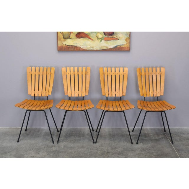 Arthur Umanoff Raymor Mid-Century Slat Chairs, Set/4 For Sale In Portland, ME - Image 6 of 9