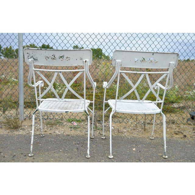 Vintage Hollywood Regency Wrought Iron Dining Set Chairs Table Salterini Style For Sale - Image 5 of 11